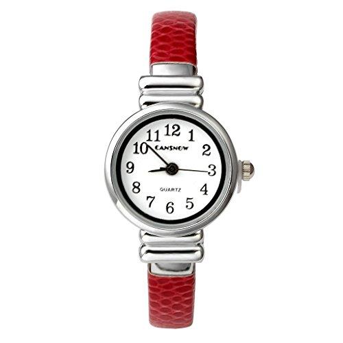 JSDDE Uhren, Elegante Damen Armbanduhr XS Slim Leder Metallband Spangenuhr Chic Analoge Uhr Quarzuhr Kleideruhr für Frauen Mädchen(Rot)