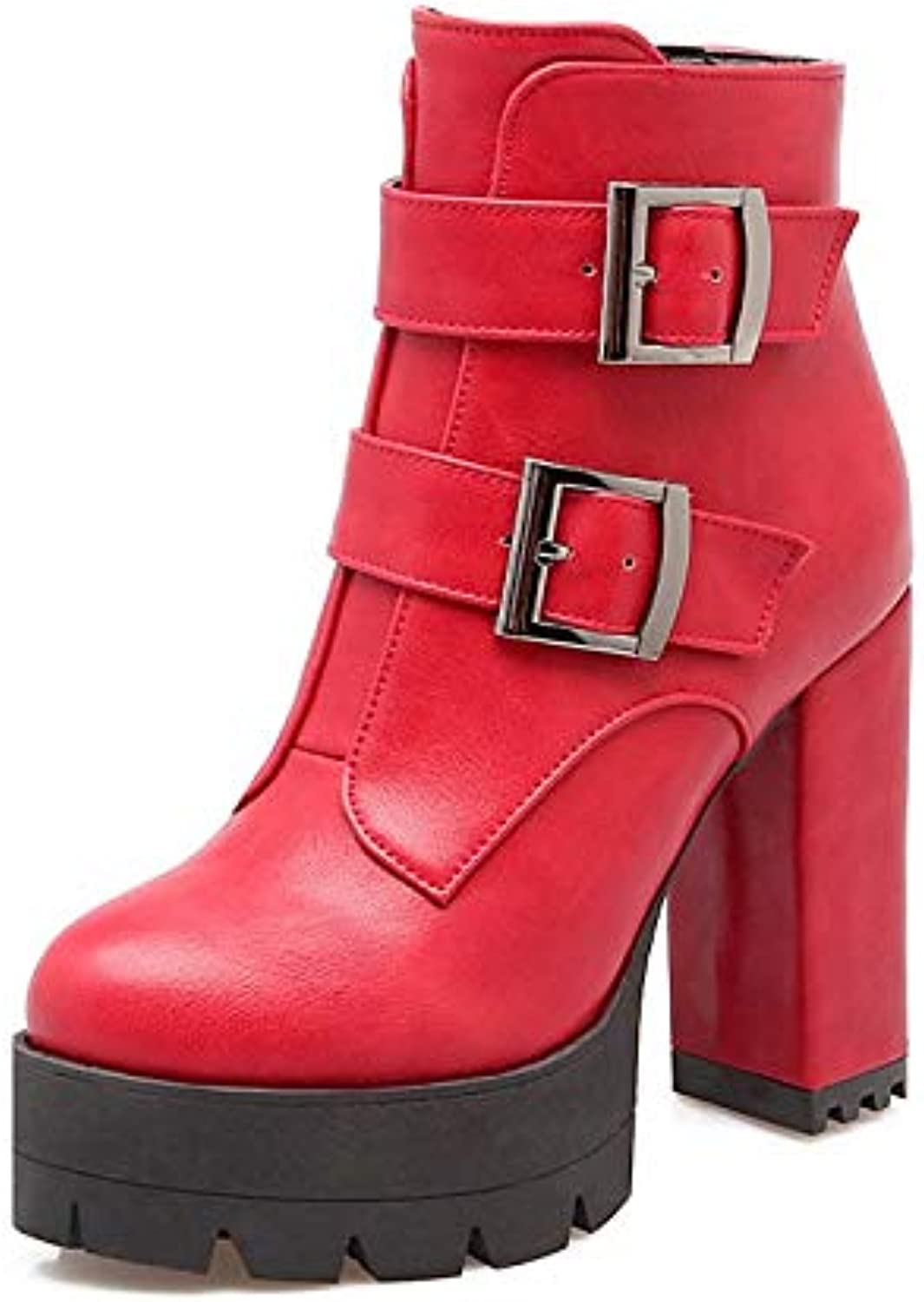 Donna Combat Boots PU (Poliuretano) Fall -* Inverno Boots Chunky Heel round Toe Booties /Ankle Boots Buckle Black /G  / Red