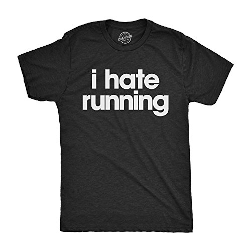 Mens I Hate Running Tshirt Funny Sarcastic Marathon Runner Fitness Workout Tee for Guys (Heather Black) - M