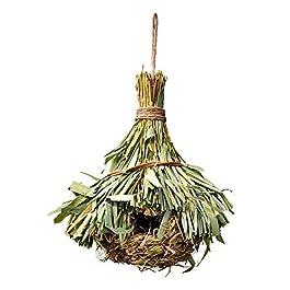 AZXAZ Handmade Bird House Breeding Nest Creative Straw House Hanging Wildlife Bird Nesting For Indoor Outdoor