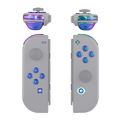 eXtremeRate Multicolore Tasti Luminosi Joycon DFS LED Kit per Nintendo Switch Pulsanti Direzionali ABXY Trigger Grilletti per Nintendo Switch Joy-Con(NON Include Joycon)-Camaleonte Viola Blu