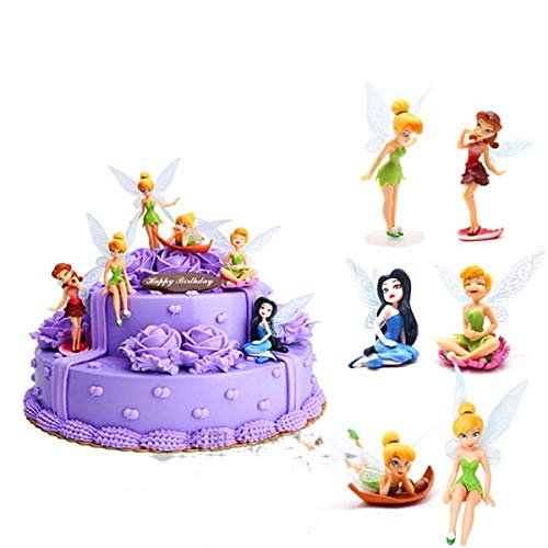 HYSTYLE 6 Pcs Fairies Miniature PVC Figure Collection Playset Doll Toy, Fairy Cake Topper, Fairy Plant Pot Craft Dollhouse Decoration, Cake Decoration, Landscape Scenes