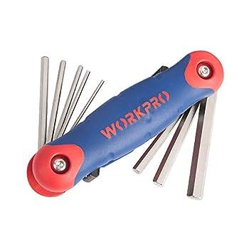 WORKPRO Folding Hex Key Set  SAE  Chrome-Vanadium Steel Hardened and Tempered  9 Piece Set   W022005