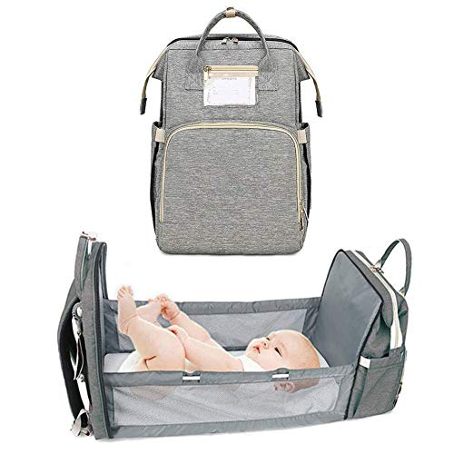 4-IN-1 Portable Crib Mommy Bag Fordable Large Capacity Mom Backpack Nappy Tote Bag Multi-Function Travelling Backpack for Mom Travellers.