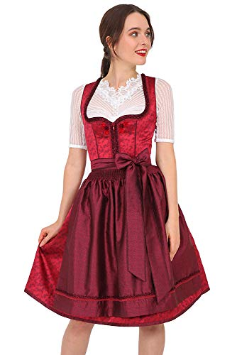 Krüger MADL abito da donna Dirndl Fabia 49896 – Rosso 60 cm – Mididirndl abito tradizionale taglia 32-48 Colore: rosso 42