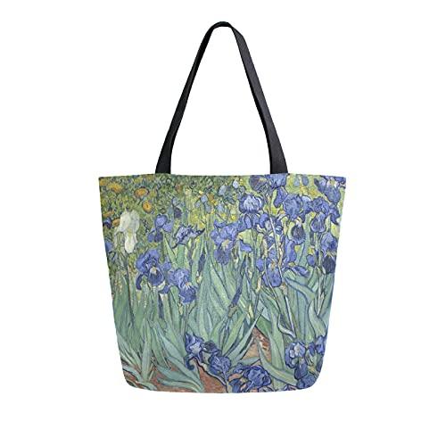 SunsetTrip Bolsa de lona para mujer, bolsa de hombro floral de Van Gogh Iris, reutilizable, grande, bolsa de compras con bolsillo interior