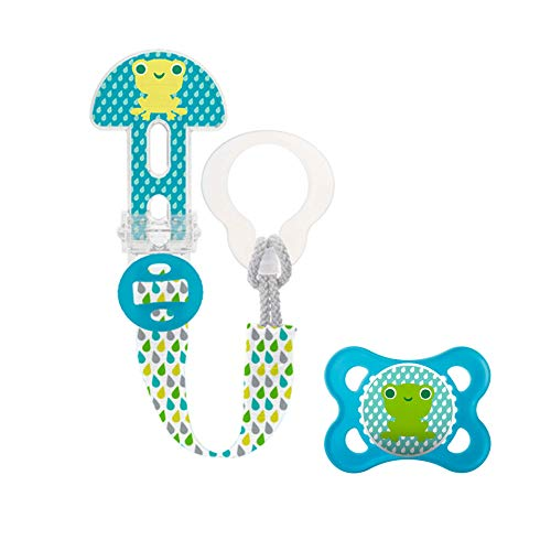 MAM Broche Clip It! & Chupete Original S224 - Chupete de Silicona Skinsofttm Ultrasuave, para Bebés de 0+ Meses, Azul