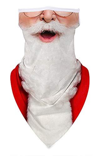 Ainuno Christmas Mask for Men Women Santa Mask Santa Claus Face Bandana Mask Funny Neck Gaiter Ugly Mask Fun Face Covering for Holiday Festival Christmas Vacation Half Face Half Mask Carnival SantaCon
