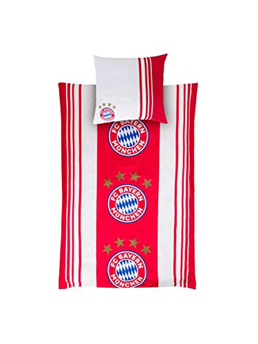 FC Bayern München Bettwäsche Logo 135 x 200 + 80 x 80 cm, mia san mia, Rekordmeister, offizielles FC Bayern Produkt