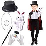 Beelittle Kids Magician Costume Set Magician Cloak Cape,Top Hat,Wand,Gloves,Rabbit Puppet with Magic Tricks Kit Magician Pretend Play Dress Up Accessories Set (Black&Red Set)