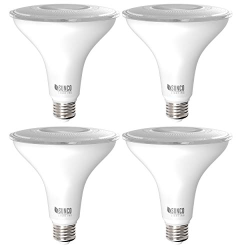 Sunco Lighting 4 Pack PAR38 LED Bulb 13W=100W, 4000K Cool White, 1050 LM, Dimmable, Indoor/Outdoor Spotlight, Waterproof - UL & Energy Star