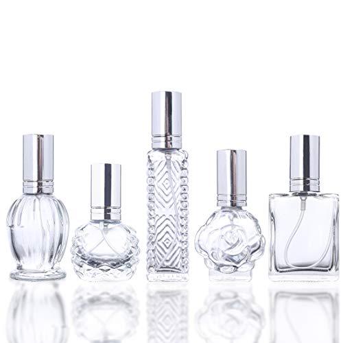 H y D claro Vintage de vacío recargable atomizador de perfume botella de cristal para boda regalos decoración del hogar conjunto de 5