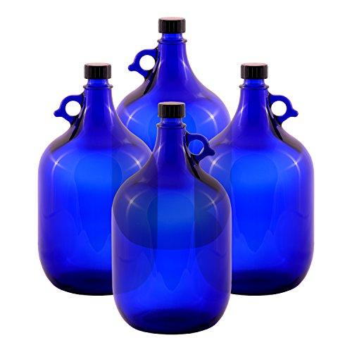 LGL Haushaltswaren 4 x 5 Liter Glasballon Flasche blau/Gallone Gärballon Glasflasche Blauglas 5L