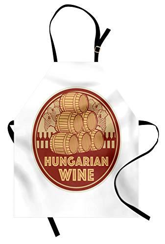 ABAKUHAUS Hongarije Keukenschort, Vintage Hongaarse Wijn Text, Unisex Keukenschort met Verstelbare Nekband voor Koken en Tuinieren, Red Mustard en Beige