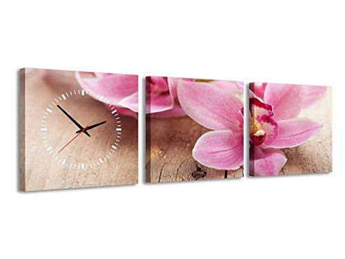 Quadrato Orologio de parete Fiore rosa sulla scrivania in legno natura fiori bellissimi