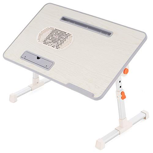 Nexos Laptop-Tisch Aluminium mit MDF-Platte 52x30 cm Höhe Neigungswinkel verstellbar integrierter Lüfter USB-Anschluss Notebook-Ständer Beistelltisch