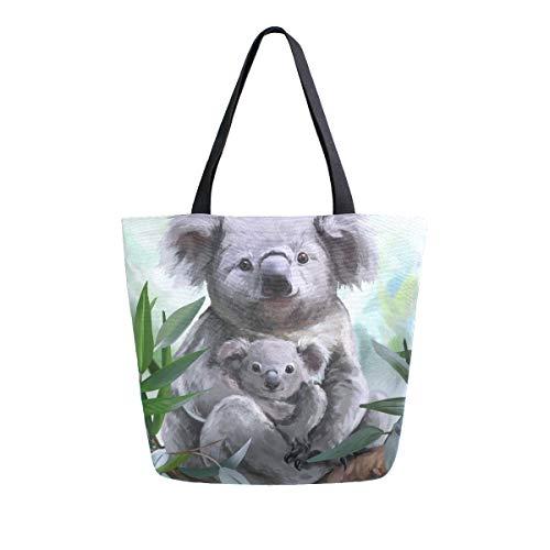 Hunihuni Koala - Bolso de lona reutilizable para mujer y niña