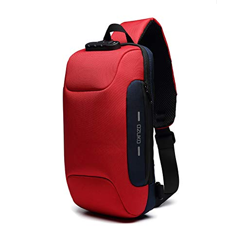 Sling Bag Shoulder Crossbody Backpack Waterproof Sling Backpack with USB Charging Port Anti Theft Chest Pack Bag Casual Daypack Fit 9.7 Inch Ipad (Red)