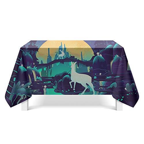 DREAMING-Licht Und Schatten Elch Kunst Tischdecke Haushalt Tischdecke Tv-Schrank Couchtisch Tuch Runde Tisch Tischset 140cm * 180cm