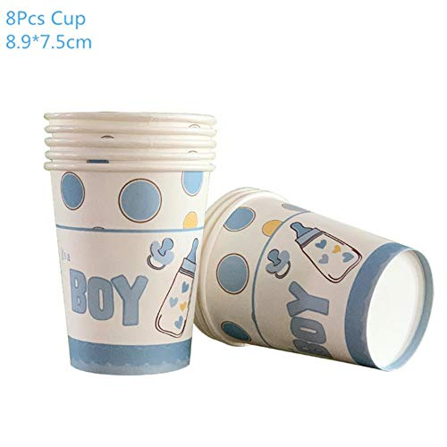 Party Dekoration 1Set Baby Shower Dekoration Party Geschirr Kind Geburtstag Pappteller Cup Tischdecke Baby Shower Geschlecht Reveal Party Supplies, 8 Stück Pappbecher