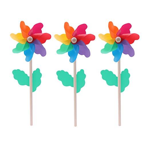 Angoily 10Pcs Bunte Windmühle Windrad Windräder Kinderspielzeug Windspiel Holz Handgriff Windmühle für Kinder Garten Party Rasen Dekor 12Cm