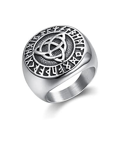 FLQWLL Trinity Rune Amulet Ring Anillo De Orbe Celta De Acero Inoxidable,11