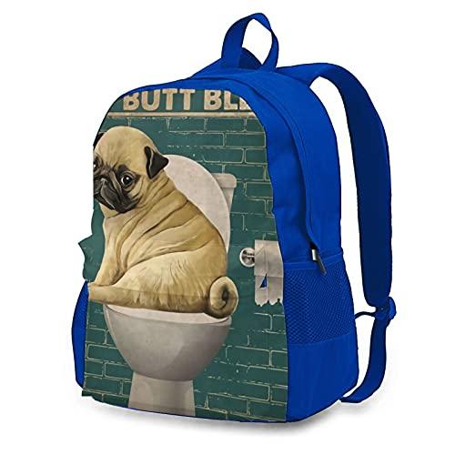 wobzfrok Pug I Didnt Fart My Butt Blew You A Kiss Novelty Adult Backpack Shoulder Bag for School