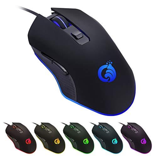 Marxways - Ratón para videojuegos con cable USB para juegos y día con retroiluminación RGB de cromo ajustable, cómodo ratón ergonómico para PC, portátil, Mac, Windows