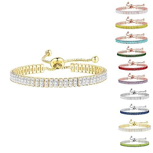 Pulseras de tenis de circonita cúbica para mujer con deslizador ajustable para adolescentes y niñas, joyería de moda (dorado)
