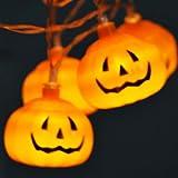 Decoraciones de Halloween, 3 metros, 20 luces LED de cadena, linterna de calabaza 3D espeluznante clásica impermeabilizada, lámparas con pilas AA para interiores y exteriores para fiestas de Halloween
