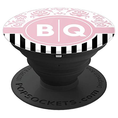 Buchstaben BQ Initialen mit Rosa Damast Monogramm BQ - PopSockets Ausziehbarer Sockel und Griff für Smartphones und Tablets