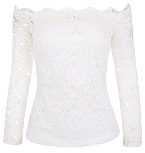 Elastic Neckline Elegant Lace T-Shirt Long Sleeve Off Shoulder Tops White Medium