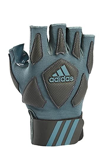 adidas Scorch Destroy 2 Lineman Gloves Half Finger, Grey/Black, Medium