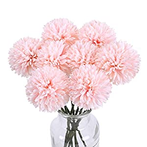 AILANDA Artificial Flowers Chrysanthemum Ball Flowers 8PCS Silk Flowers Artificial Hydrangea Bridal Wedding Bouquet Champagne Pink for Home Party Wedding Greenery Centerpieces