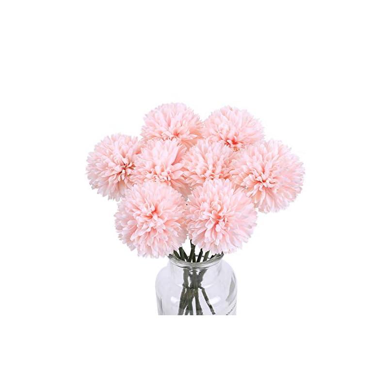 silk flower arrangements ailanda artificial flowers chrysanthemum ball flowers 8pcs silk flowers artificial hydrangea bridal wedding bouquet champagne pink for home party wedding greenery centerpieces