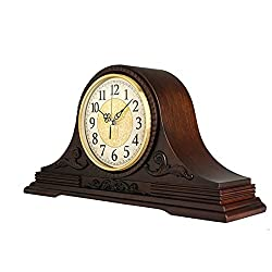 Mantel Clocks, Solid Wood Decorative Fireplace Clocks, Shelf Clock, with Westminster Chime, Battery Operated,Used for Mantel, Living Room Decoration, Office, Bedroom, 18.3× 9.5