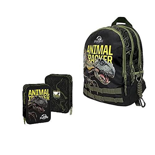 Jurassic World SCHOOL PACK 2021 Zaino 3 Cerniere + Astuccio 3 Cerniere (completo di cancelleria)