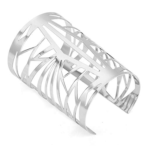 Daawqee Damen Armband,Wickelarmband, Hollow Wide Cuff Bracelets & Bangles for Women Men Gold Silver Color Alloy Open Big Male Female Bangle Bracelet Fashion Jewelry WL20