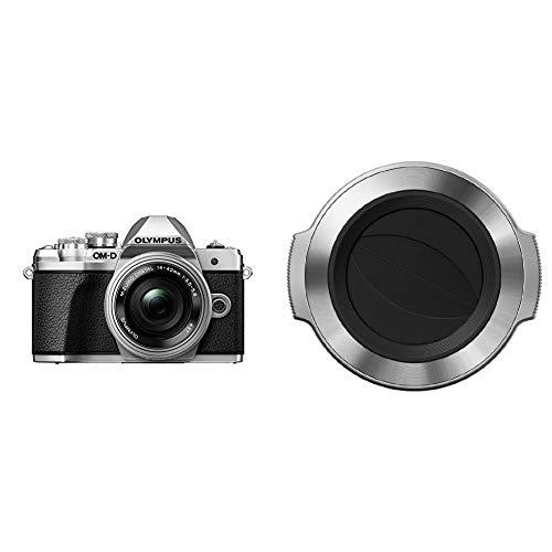 Olympus OM-D E-M10 Mark III Kit, Micro Four Thirds Systemkamera (16 Megapixel) + M.Zuiko 14-42mm EZ Zoomobjektiv, Silber & LC-37C automatischer Objektivdeckel (geeignet für M.Zuiko 14-42 mm) Silber