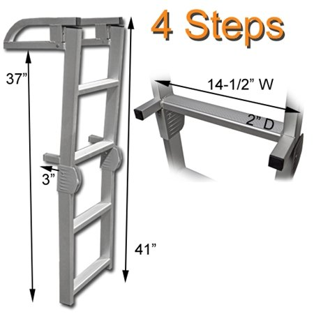 RecPro Marine Pontoon Boat 4 Step Folding Boarding Aluminum Ladder AL-C4