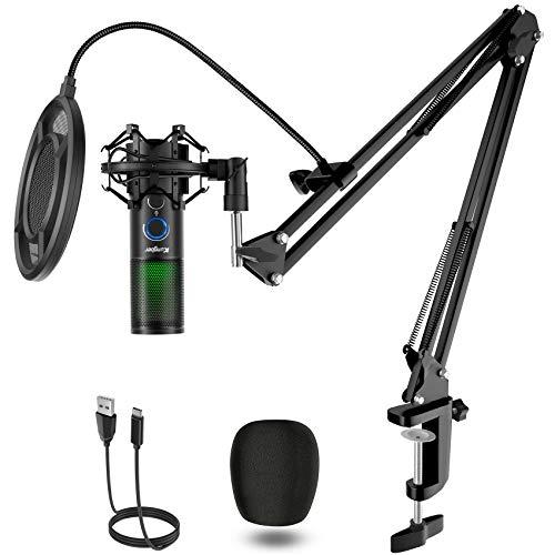 Kungber USB Mikrofon PC, 5 RGB Licht Modi Gaming Microphone, Kondensatormikrofon Kit für PS4, Computer und Mac, Q18