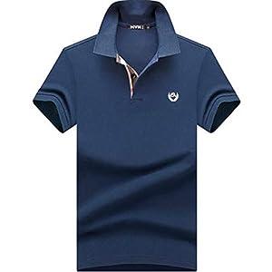 (habille)メンズ ポロシャツ 半袖 ダークトーン チェック 柄 夏 父の日 プレゼント ゴルフウェア 鹿の子 大きいサイズ おまけ付(L/ネイビー)