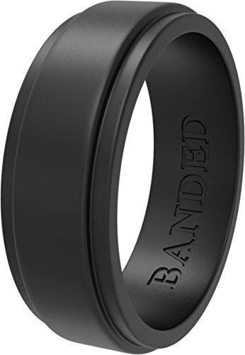 BANDED GLORY Silicone Wedding Ring for Men, Silicone Ring Rubber Wedding Bands, Step Edge Design, Wide Black 12