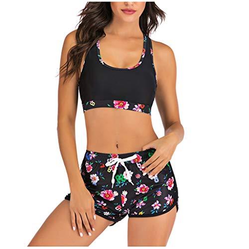 OIKAY Bikini mit Hotpants Bademode Strandanzug Damen Bikini Sets Badeanzüge Zweiteiler Tankini Damen(A Schwarz,S)