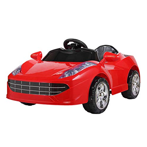 JAXPETY 6V Kids Ride On Car Battery Powered Electric Sports Car w/ MP3, LED Lights, Remote Control, Red