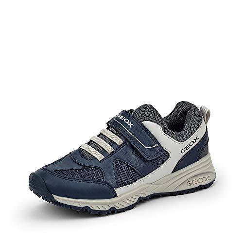 Geox Unisex - Kinder Halbschuhe J Bernie, Jungen,Mädchen Klettverschluss,Kleinkinder Kinder-Schuhe toben,Navy/LT Grey,31 EU / 12.5 UK Child