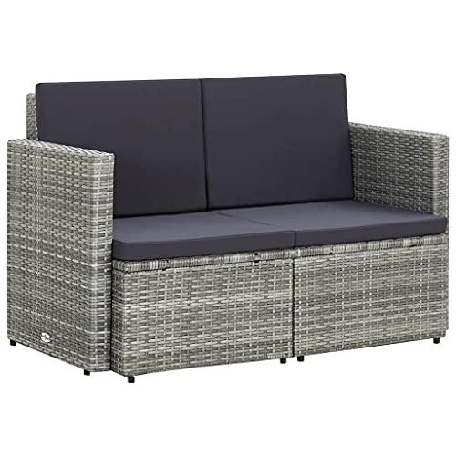 vidaXL Gartensofa 2-Sitzer mit Auflagen Sofa Gartenbank Gartenmöbel Lounge Sitzbank Rattansofa Rattanmöbel Terrasse Grau Poly Rattan
