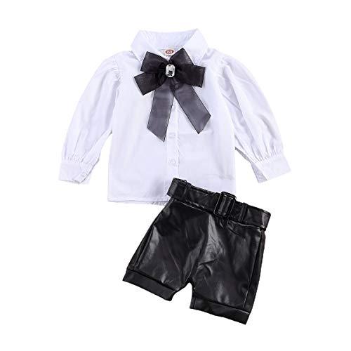 Whitzard Kleinkind Baby Mädchen Outfits 2pcs Babyset Plissee Langarmhemd mit Schleife und Mode Ledershorts Kinder Baumwolle Neugeboren Kleidung Set für 1-6 Jahr (Weiß, 110)