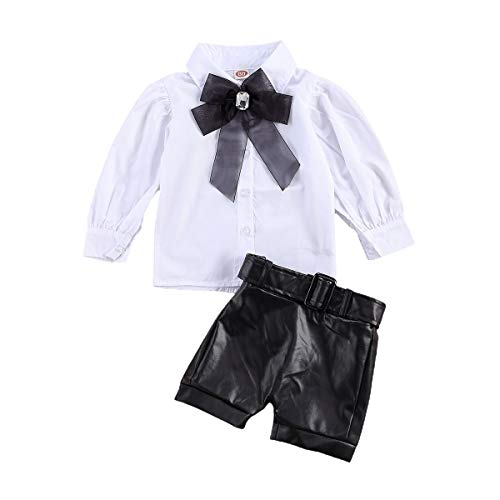 WangsCanis 2pcs ropa de las muchachas set puff camisa de manga larga del collar del soporte con bowknot + pu cuero desgaste fijan para niños equipos de otoño trajes(blanco,2-3 años)