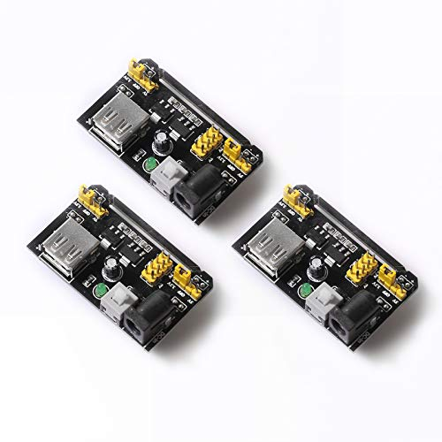 DEVMO 3PCS 3X MB102 Breadboard Power Supply Module Prototype DC 6.5-12V to 3.3V 5V USB Compatible with Ar-duino Bread Board